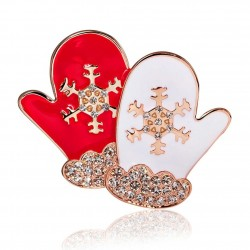 Christmas gloves - crystal brooch