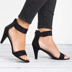 High heel pumps - elegant suede sandals with a back zipper