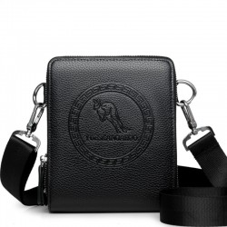 Fashionable leather bag with double zipper