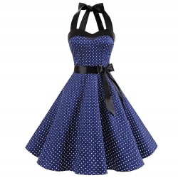 Vintage lace up dress with polka dots