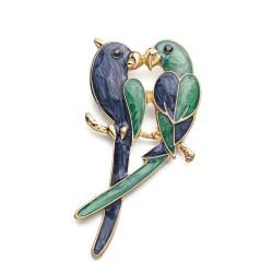Double parrots - elegant brooch