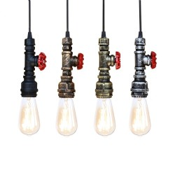 Industrial iron water pipe - vintage lamp with cable - E27 LED