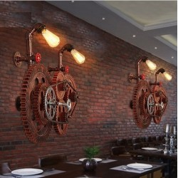 Loft style industrial gear - vintage wall light lamp